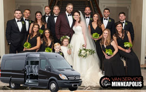 group transportation for wedding party in Minneapolis, MN